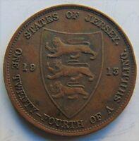 1913 JERSEY George V 1/24 Shilling (1/2 Penny)  grading VERY FINE.