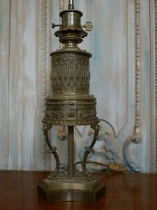 Vintage French Rustic Bronze Finish Ornate Metal Table Bedside Lamp Lantern