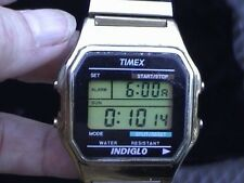 vintage timex digital mens gold tone watch water resistant