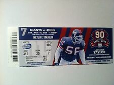 NEW YORK GIANTS VS. SAN FRANCISCO 49ERS 11/16/2014 HOME GAME #7