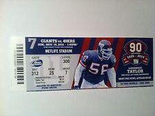 NEW YORK GIANTS VS. SAN FRANCISCO 49ERS 11/16/2014 HOME GAME #7
