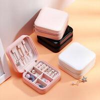Velvet Glass Earring Ring Jewelry Organizer Box Tray Holder Storage Case Holder