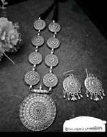 Indian Antique Oxidized Choker Jewelry Necklace Jewelery with earrings