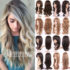 USA Full Women Lady Fashion Hair Wig Long Black Brown Blonde Wigs Curly Straight
