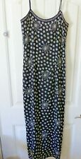 Papell Boutique Size 4 Silk Floral Beaded Maxi Evening Gown Dress Black White