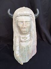 Fine Native American Art Alabaster Sculpture - Warrior with Buffalo Headdress