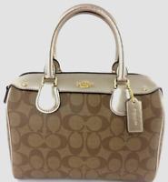 New Coach F31157 mini Bennett Satchel Coated Canvas handbag Khaki / Platinum