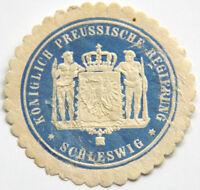 GERMANY LOCAL LABEL ENVELOPE SEAL,Königlich Preussische Regierung Schleswig(6757