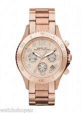 NEW MARC JACOBS MBM3156 ROSE GOLD ROCK CHRONOGRAPH WATCH - 2 YEAR WARRANTY