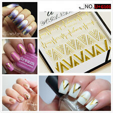 Gold Heartbeat Stickers Gold V Shape 3D Nail Decals Nail Art  Manicure