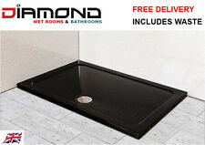 1400x800 BLACK ULTRA GLOSS Rectangle Stone Slimline Shower Tray 40mm inc Waste