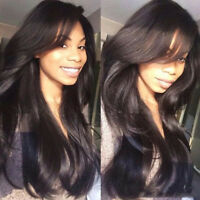 100% Human Hair Full Lace Wigs With Bangs Virgin Lace Front Wig Pre Plucked Wavy