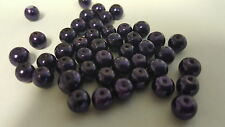 200 pieces 6mm Glass Pearl Beads - Dark Lilac - A0988-A