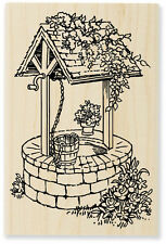 WISHING WELL Rubber Stamp P195 Stampendous! Brand NEW! flowers bucket wish