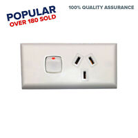 Skirting Single GPO Power Point For Generators White Narrow Switch Outlet