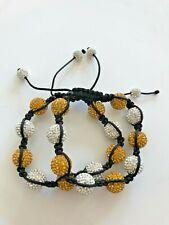 Shamballa Bracelet Lot Of 2 Crystal Ball Gold & Silver (White) Adjustable