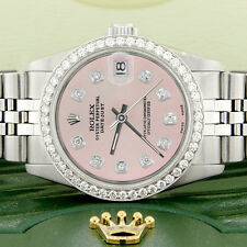 Rolex Datejust 31mm S/S Jubilee Women's Watch w/Pastel Pink Dial & Diamond Bezel
