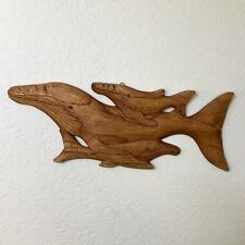 """LARGE 18"""" Hand Carved Pod Of Whales Wall Decor Ocean Sea Marine Life Nautical"""
