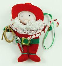 Vintage Yarn Cowboy Santa Christmas Ornament Holiday Tree Decoration