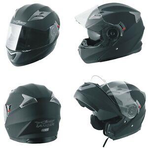 Motorbike Flip Up Sun Visor Helmet Motorcycle Jet Modular Matt Black L
