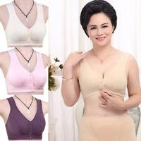 Fashion Women's Elderly Cotton Bra Vest Wire Free Front Closure Bras Plus Size