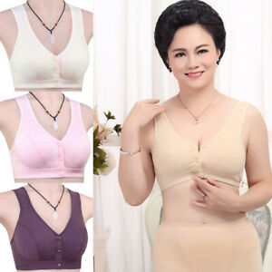 Fashion Women's Elderly Cotton Bra Vest Wire Free Front Closure Bras Plus Size
