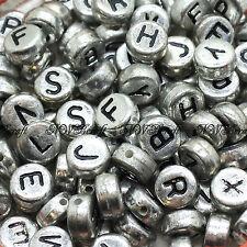 100 7x4mm Acrylic Single Letter Coin Beads A-Z Disc Alphabet Beads