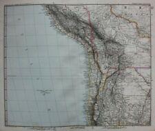 Original antique map WEST SOUTH AMERICA, PERU, CHILE, BOLIVIA, Stieler, 1886