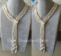 2 Strang echte kultivierte 4-5 mm weiße barocke Süßwasser Perlenkette 50 zoll