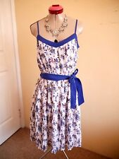 EMERGE White Blue Peach DRESS Size 12 BNWT NEW Pleated Floral Belt Silver Navy