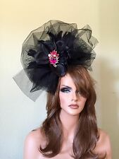 Black Pink Fascinator- Derby-Races -feathers - Hat Wedding Custom