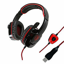 Sades Stereo 7.1 Surround Headset USB Headband PC Laptop Pro Gaming w/Mic Red