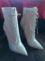 NEW LOUBOUTIN BEIGE BOOTIES 40 1/2 lace up zip patten suede leather Ankle boot