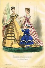 "Fashion Plate - ""JOURNAL DES DEMOISELLES"" - Hand Colored Eng. - 1867"