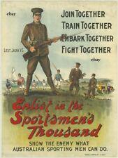 WW1 RECRUITING POSTER AUSTRALIANS ANZACS SPORTSMANS BN LT JACKA VC NEW A4 PRINT