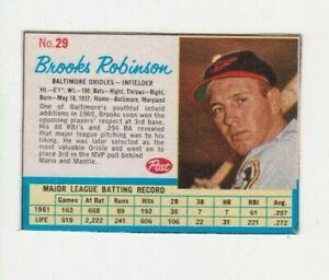 1962 Post Baseball #29 Brooks Robinson VG/EX Card
