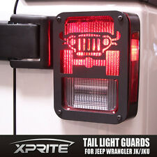 Pair Black Rear Taillight Cover Guard with Jeep Logo for 2006-2017 Jeep Wrangler