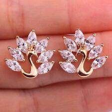 18K Gold Filled - Peacock Bird Cat Eyes Topaz Zircon Party Stud Earrings Gift