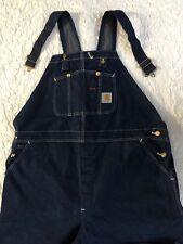 Carhartt Carpenter Bibs Mens Size (46x30) Blue Jeans Denim Bib Work Overalls