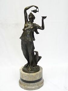 SIGNED CLODION 19 c. NUDE FEMALE w/ EAGLE BRONZE SCULPTURE w/ MARBLE BASE ~ 19""