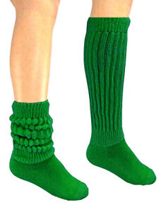 2 Lime Green Slouch Scrunchie Socks Long Warm Hooters uniform work out hiking