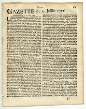 1722, july 4, Original French Gazette with news from London, Paris and more