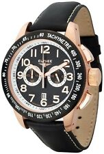 New Mens Elysee 28424 Sport Chronograph Black Leather Watch