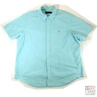 Ralph Lauren Mens 2XL Short Sleeve Button Down Cotton Shirt Blue
