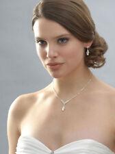 Feines Hochzeit Ball Set Schmuckset Kette Ohrringe Anhänger Kristall Klar Transp