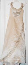 NWT Anjolique Bridal Gown #557 Mocha/Gold Leaf Motif A-Line, Cap Sleeves sz 8-12