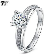TT RHODIUM 925 Sterling Silver Engagement Wedding Ring (RW12) Size 5-10