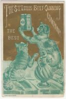 Cats & St. Louis Canned Beef Victorian Chromolithograph Trade Card