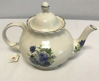Royal Patrician TEAPOT Fine Bone China Made In England White Blue Floral 7 1/2""