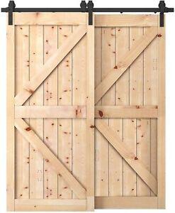 6.6 FT Rustic Sliding Barn Door Hardware Track Kit for Double/Bypass One Rail